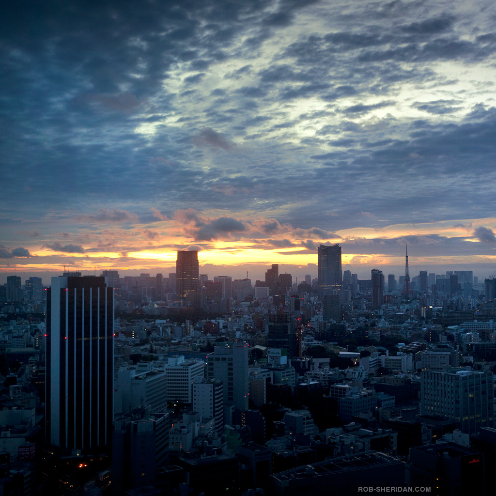 rob sheridan - tokyo at sunset ipad wallpaper