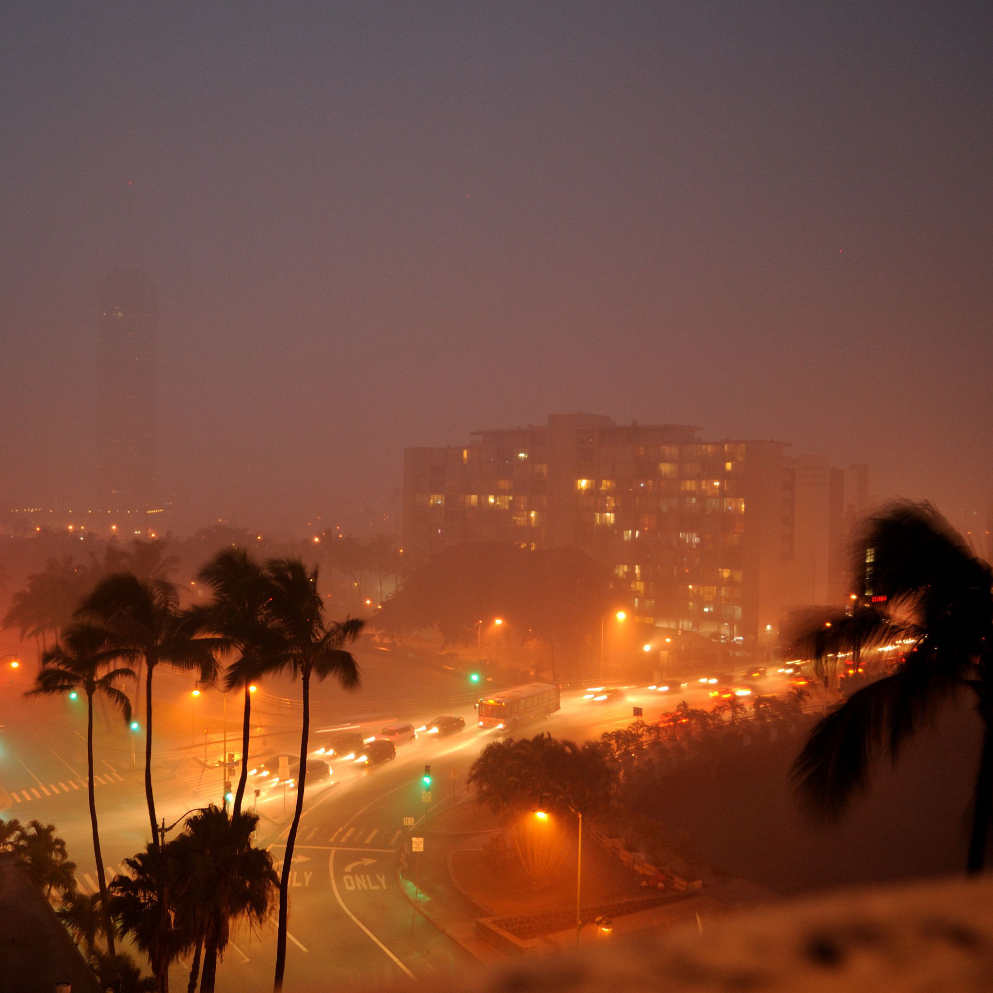 daniel ramirez - rainy tropical night city ipad wallpaper