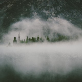 dustin scarpitti - foggy lake mountain ipad wallpaper