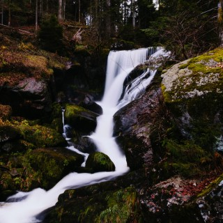littlevisuals.co - small forest waterfall ipad wallpaper