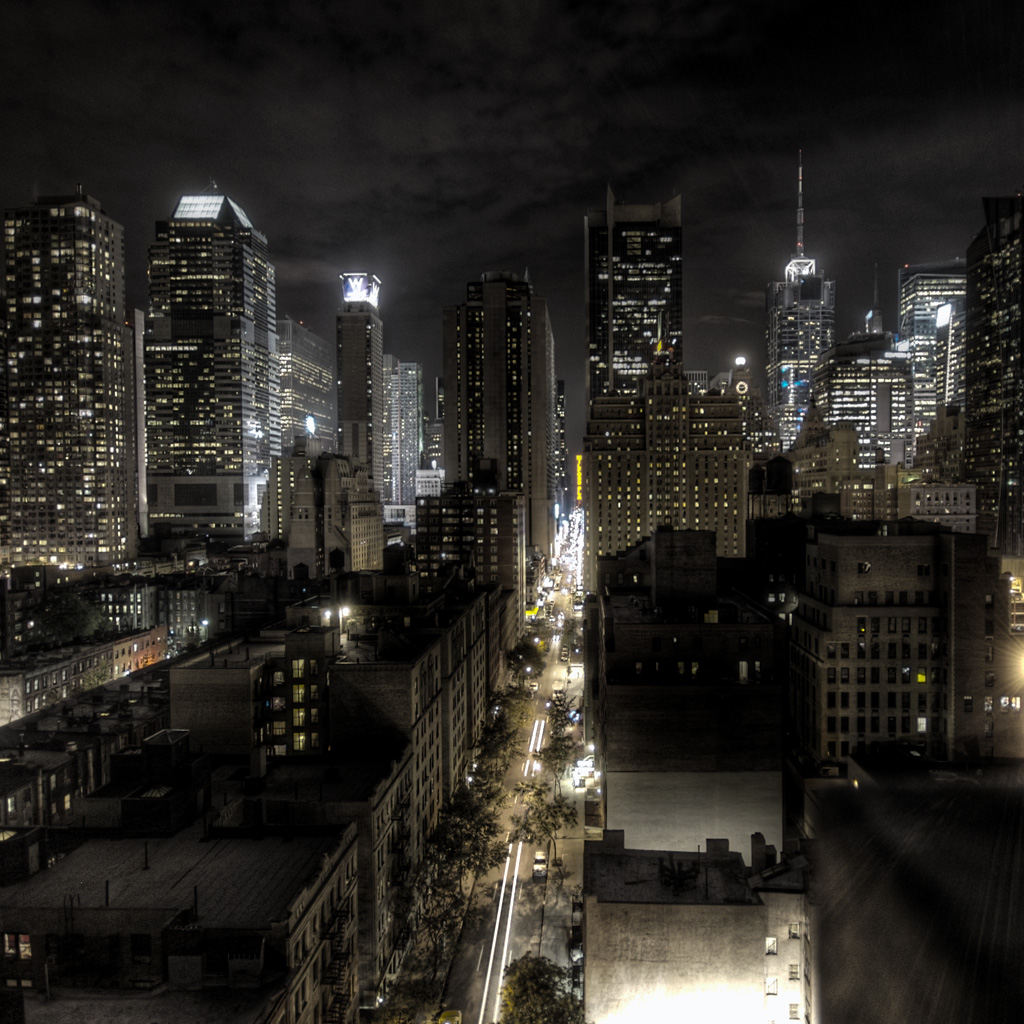 New York HDR Night Scenery IPad Wallpaper