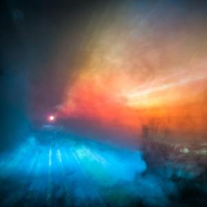 smackandtoss - blue and orange abstract fog ipad wallpaper