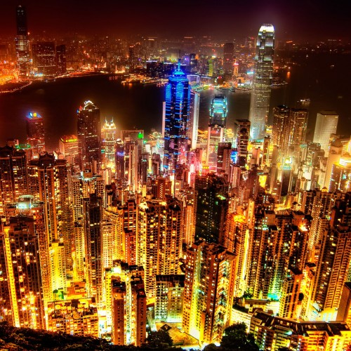 Hong Kong Skyline by Sprengben Ipad wallpaper