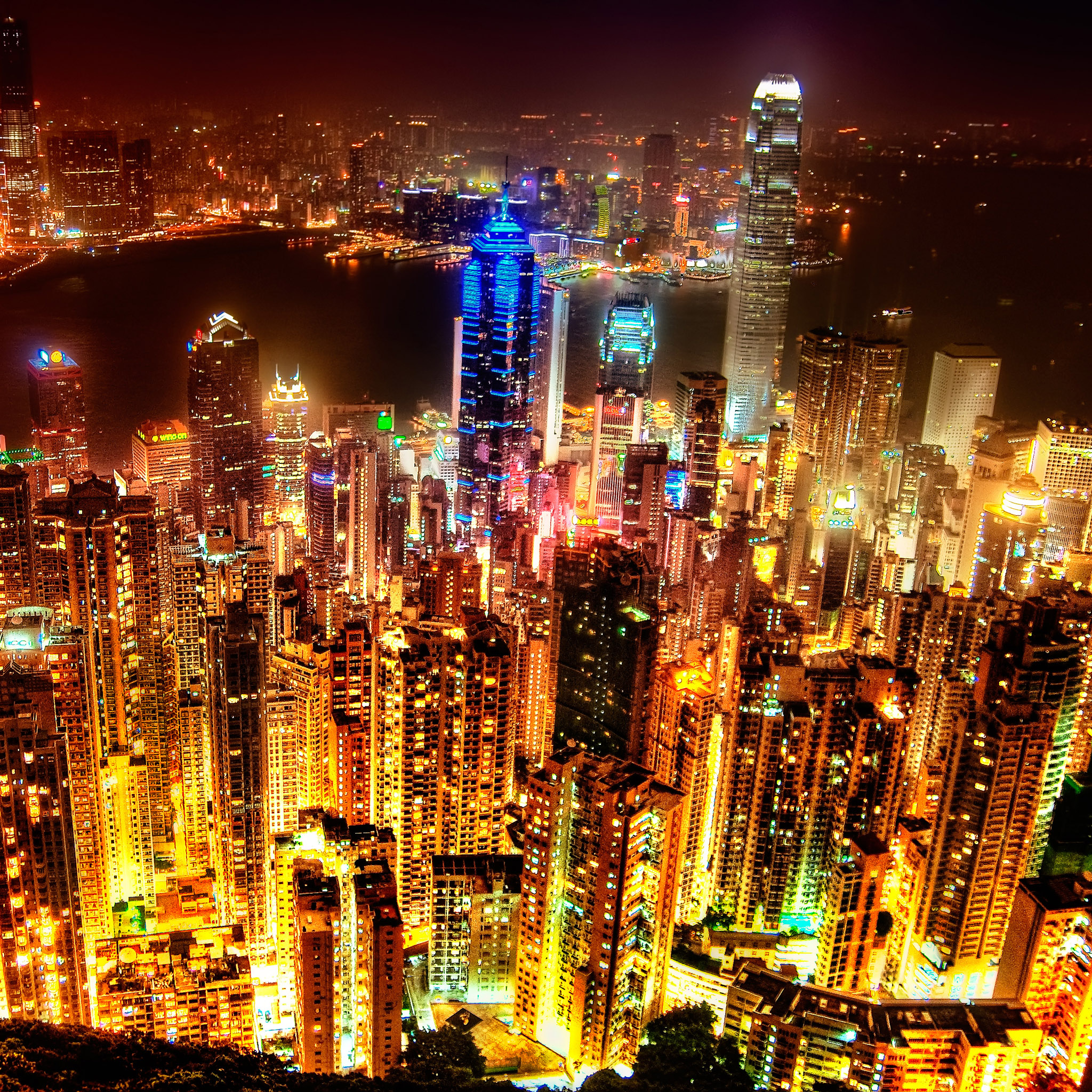 sprengben - hong kong night skyline ipad wallpaper