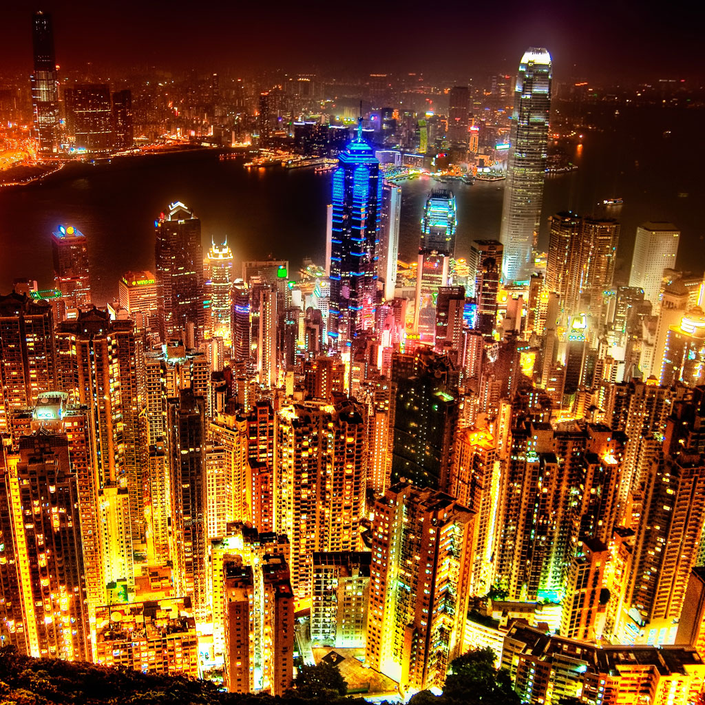 Hong Kong Skyline at Night iPad Wallpaper