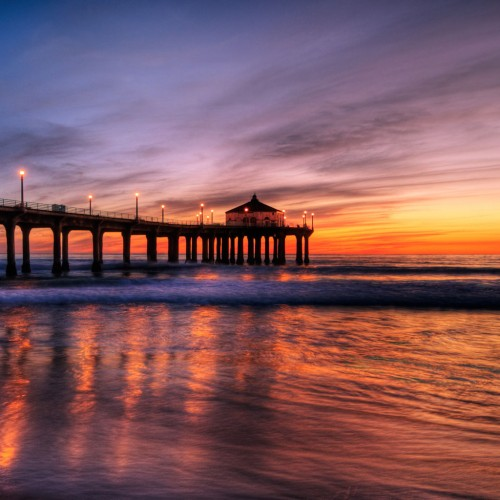 Manhattan Beach Pier at Sunset iPad Wallpaper