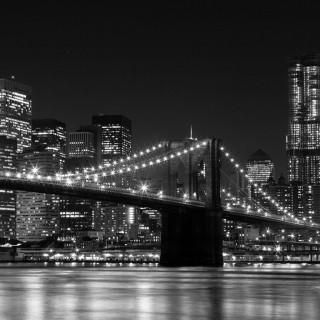 totallysweetphotos - black & white brooklyn bridge at night ipad wallpaper